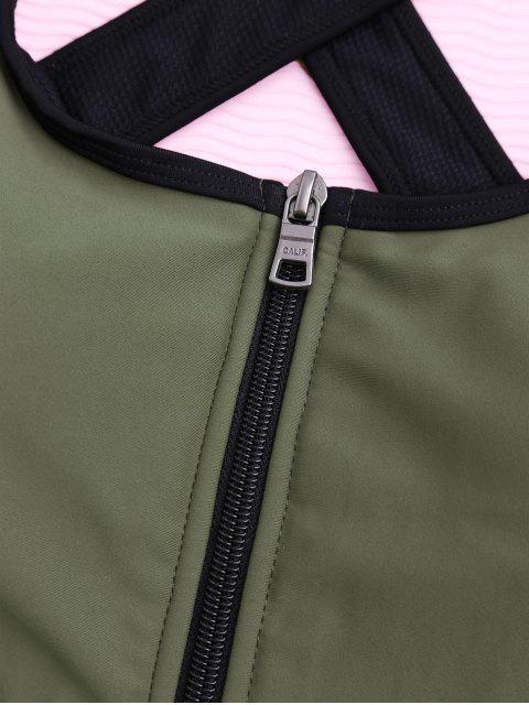 women Cross Back Zipper Padded Sporty Bra - ARMY GREEN L Mobile