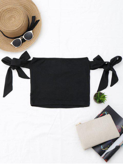 hot Bowknot Ribbed Tube Top - BLACK S Mobile