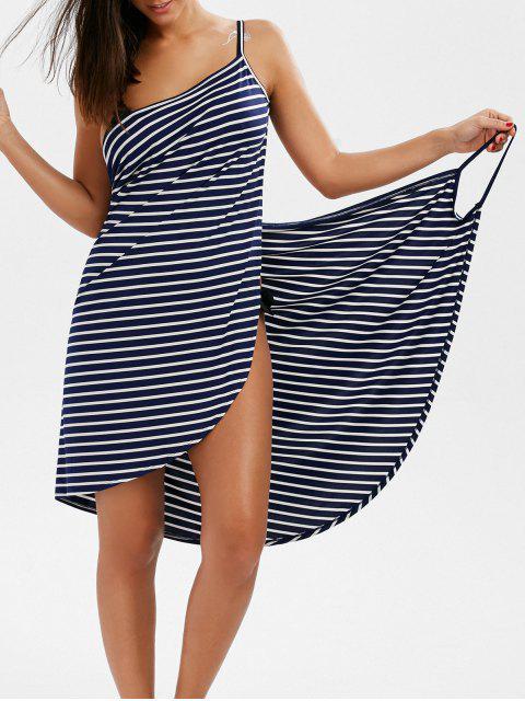 Multiweg gewicktes Verdeckung Kleid mit Rückenfrei und Streifen - Dunkelblau XL  Mobile