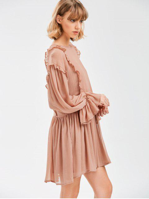 chic Sheer Flare Sleeve Dress With Golden Thread - NUDE PINK L Mobile
