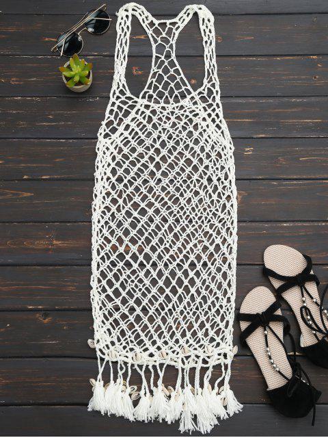 hot Seashell Fringe Crochet Cover Up Dress - OFF-WHITE ONE SIZE Mobile