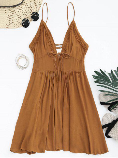 shop Plunge Low Back Lace Up Sundress - LIGHT BROWN L Mobile