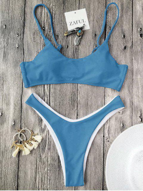 Traje de Bañador con Thong con Relleno con Tirantes Finos - Azul Hielo M Mobile