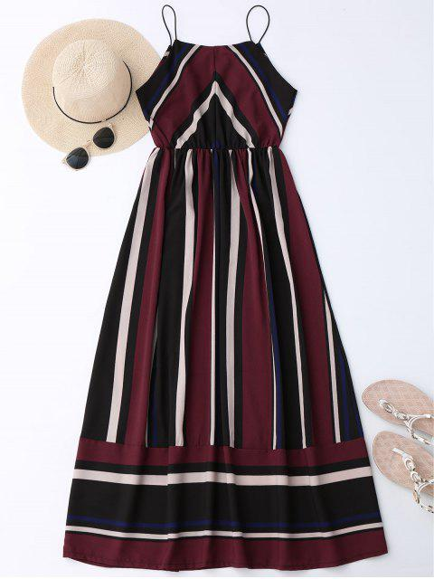womens Maxi Holiday Sundress With Stripes - WINE RED S Mobile