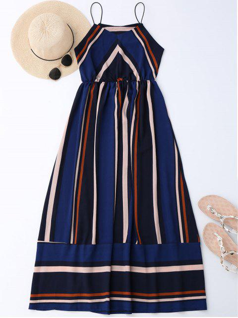 latest Maxi Holiday Sundress With Stripes - BLUE L Mobile
