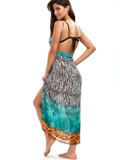 unique Zebra Print Open Back Wrap Cover-Ups Dress - COLORMIX XL Mobile