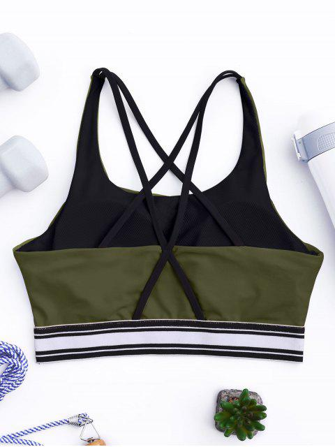 online Padded Cross Back Striped Sporty Bra - ARMY GREEN S Mobile