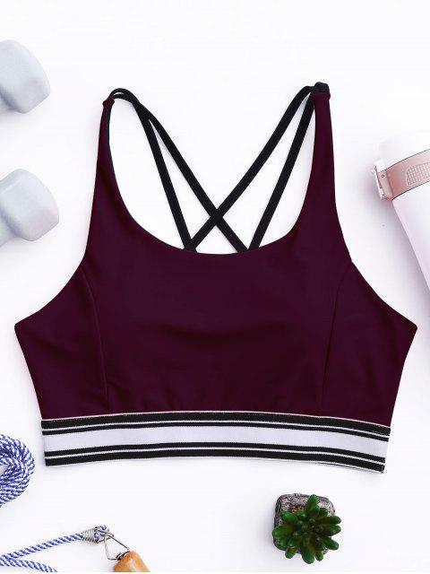 ladies Padded Cross Back Striped Sporty Bra - BURGUNDY S Mobile