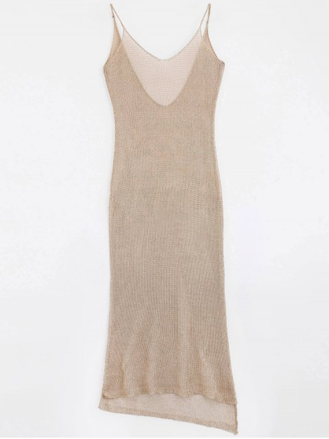 affordable High Slit Cami Maxi Cover Up - ROSE GOLD ONE SIZE Mobile