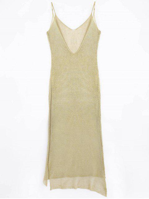 sale High Slit Cami Maxi Cover Up - GOLDEN ONE SIZE Mobile