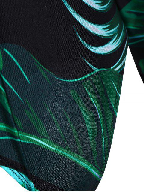 sale Palm Leaf Print One Piece Plus Size Swimsuit - DEEP GREEN XL Mobile