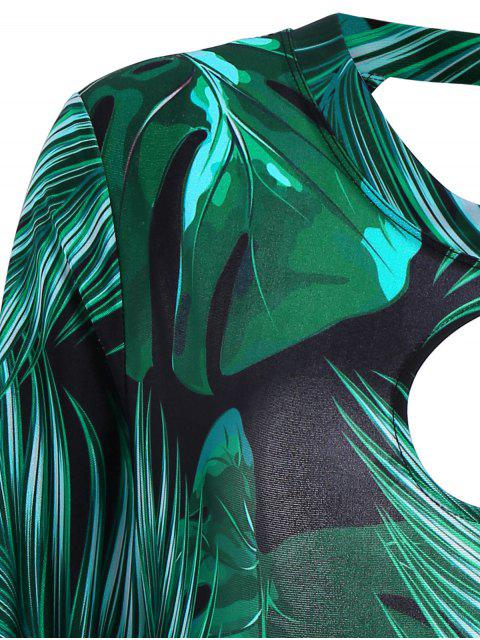 buy Palm Leaf Print One Piece Plus Size Swimsuit - DEEP GREEN 3XL Mobile