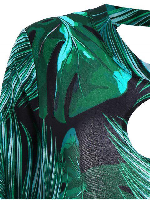 Palm Leaf Print Maillot de bain taille unique - Vert Foncé 4XL Mobile