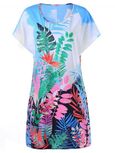 Vestido de Camiseta de Hawai con Estampado Tropical de Hojas - Colormix 2XL Mobile