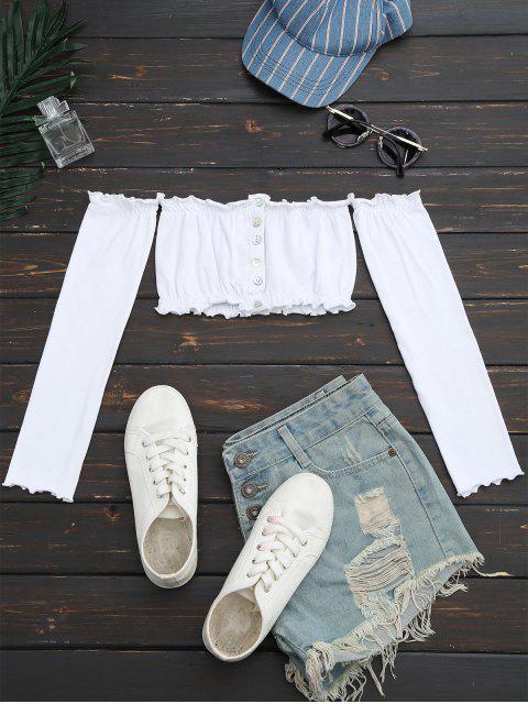 Top croppé embelli bouton aux épaules dénudées - Blanc Taille Unique Mobile