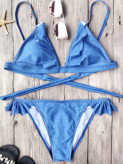 Soft Pad Frilly String Bikini Set - Blue M