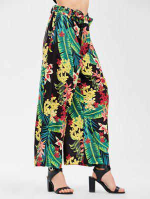 Pantalones De Pierna Anchos Florales Con Correa De Corbata - Floral L