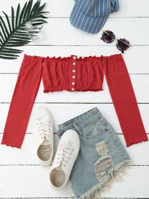 Blusa Corta De Hombros Al Aire Con Botones - Rojo