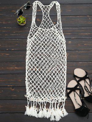 Seashell Fringe Crochet Cubrir Hasta Vestido - Blancuzco