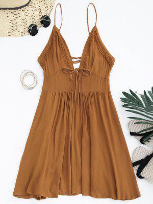 Plunge Low Back Lace Up Sundress - Light Brown L
