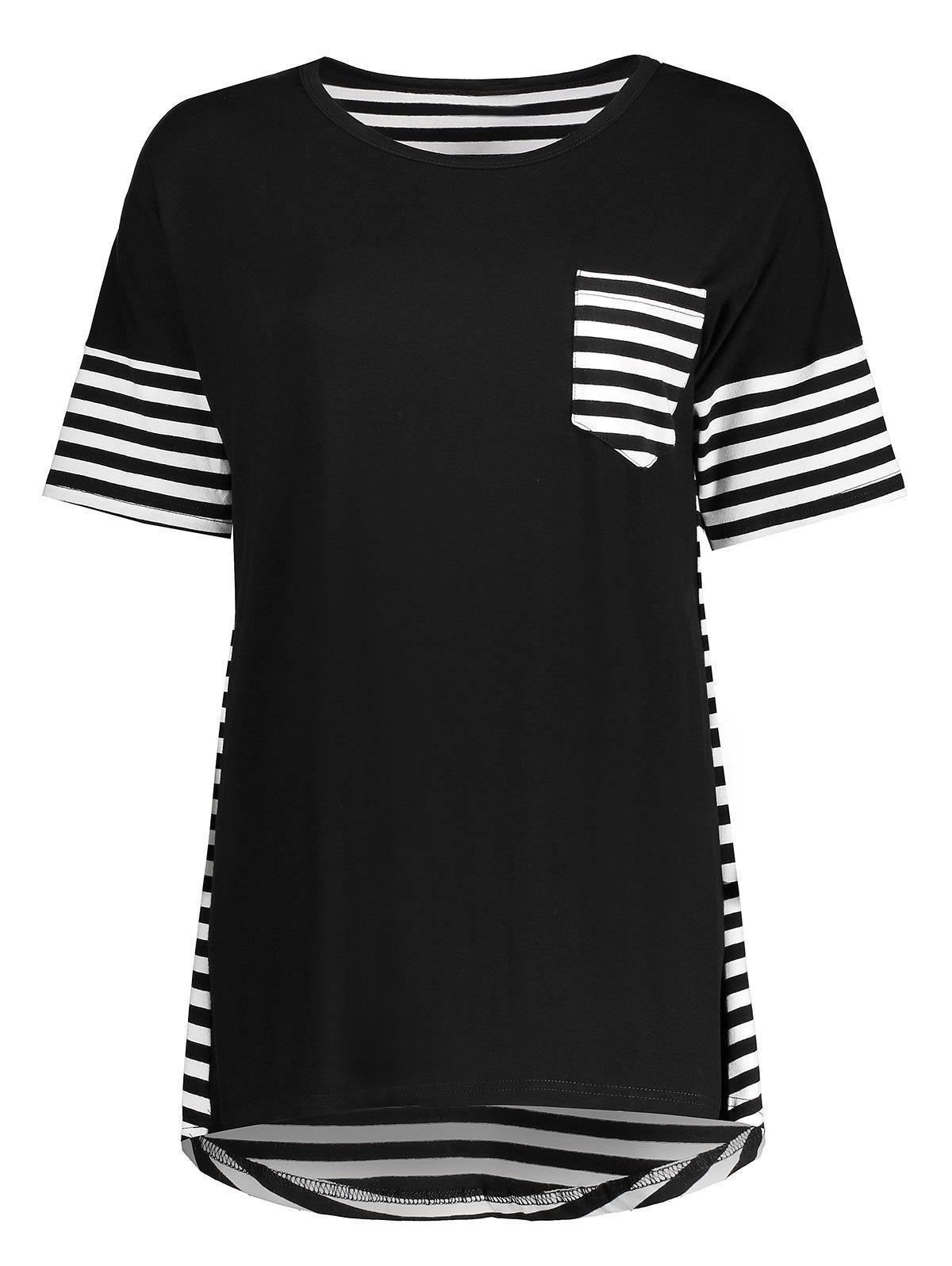 Striped Pocket High Low Tunic Tee 213517904