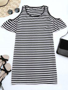 Cold Shoulder Striped T-shirt Dress - Black S