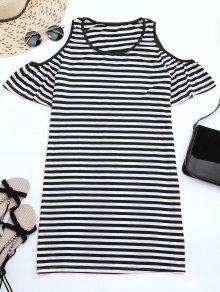 Cold Shoulder Striped T-shirt Dress - Black L