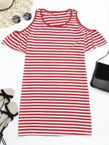 Cold Shoulder Striped T-shirt Dress - Red L