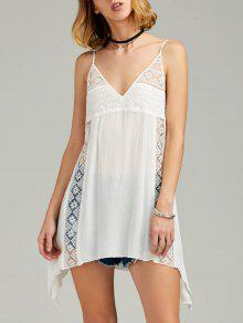 Vestido Trasparente De Sol De Pañuelo De Tirantes Finos Con Encaje Escotado - Blanco 2xl