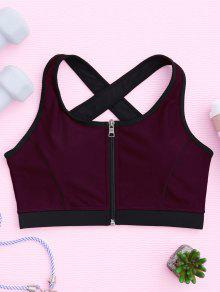 حمالة الصدر رياضية كروس الظهر بسحاب مبطن - عنابي اللون L