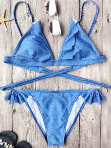 Soft Pad Frilly String Bikini Set - Blue M