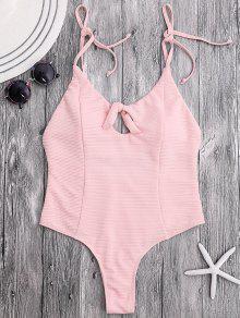 مربوط عالية قطع مضلع ثونغ السباحة - الضحلة الوردي M