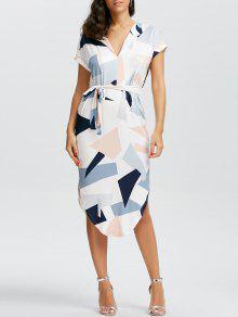 فستان قصيرة الأكمام طباعة هندسية ميدي - أبيض M