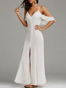 فستان باردة الكتف عالية الشق ماكسي حفلة - أبيض M
