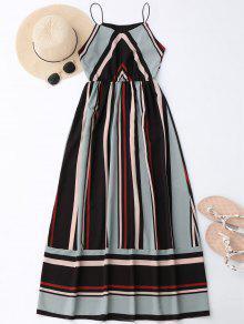 Maxi Holiday Sundress With Stripes - Light Blue Xl