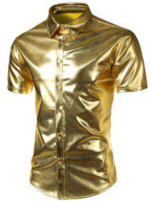 كم قصير قميص معدني - ذهبي M