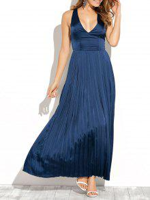 Cut Out Low Cut Maxi Long Prom Dresses - Blue S