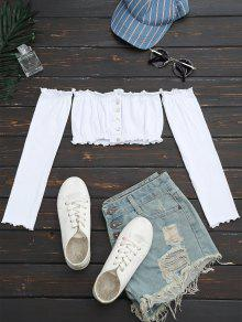 Button Up Off Shoulder Cropped Top - White