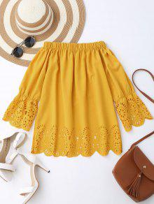 Blusa De Hombros Al Aire Con Encaje - Amarillo S