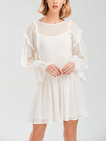 Sheer Flare Sleeve Dress With Golden Thread - White M