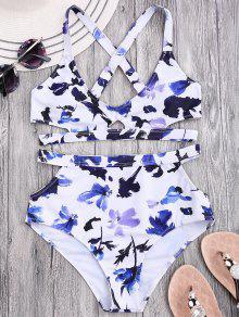 Blumen Bandage Bikini Mit Hoher Taille Und Kerbe - Weiß S