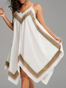 فستان مثير منديل طباعة بوهو - أبيض M