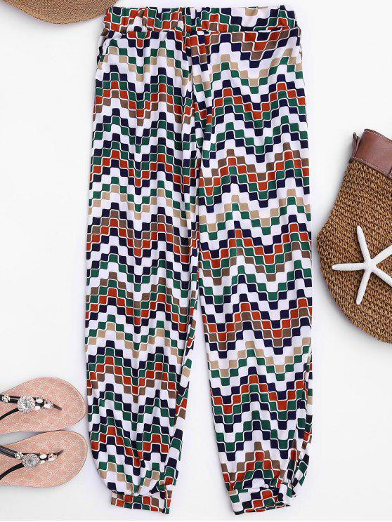 womens Soft Mosaic Pattern Slouchy Pants - COLORMIX ONE SIZE