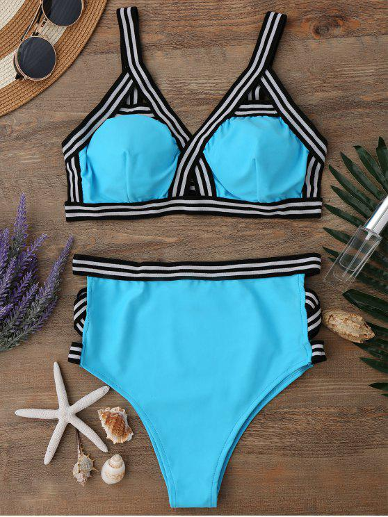 trendy High Waisted Spaghetti Straps Bikini Set - WATER BLUE S