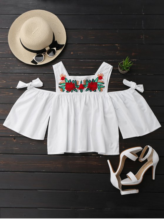 Top de hombro frío con lentejuelas de flores - Blanco L