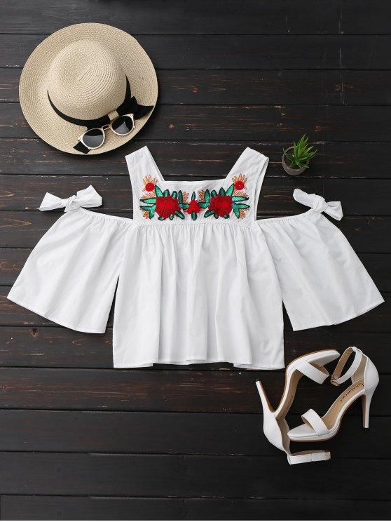 Top de hombro frío con lentejuelas de flores - Blanco S