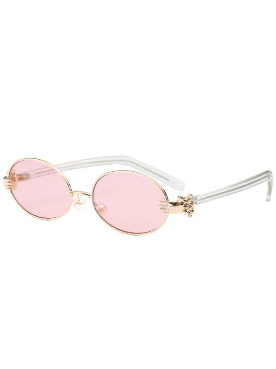 lady Metal Hand Faux Pearl Nose Pad Oval Sunglasses - PINK