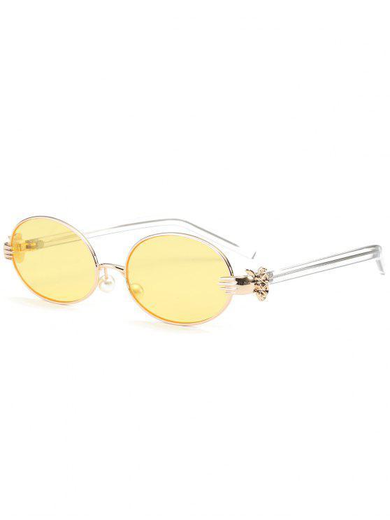 Gafas de sol oval de la naranja de la perla del Faux de la mano del metal - Amarillo