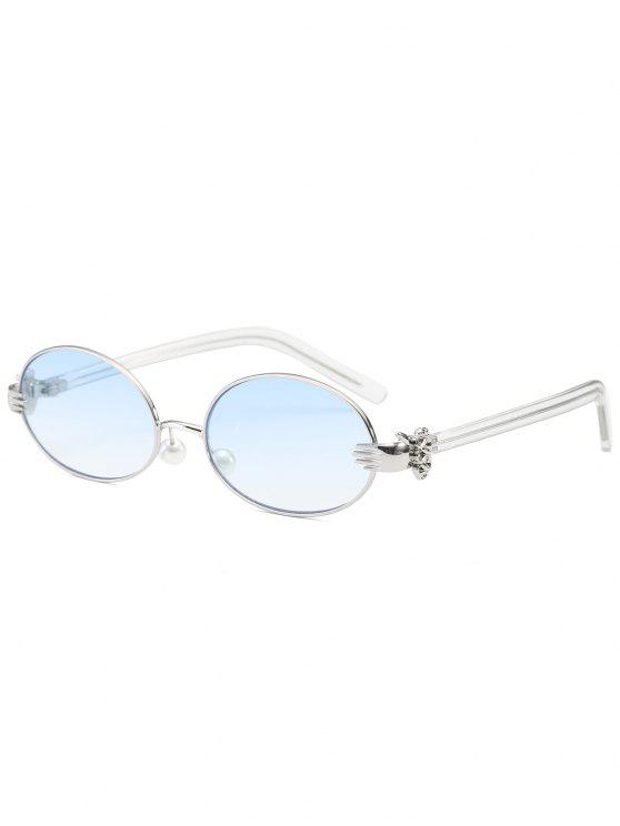 online Metal Hand Faux Pearl Nose Pad Oval Sunglasses - LIGHT BLUE