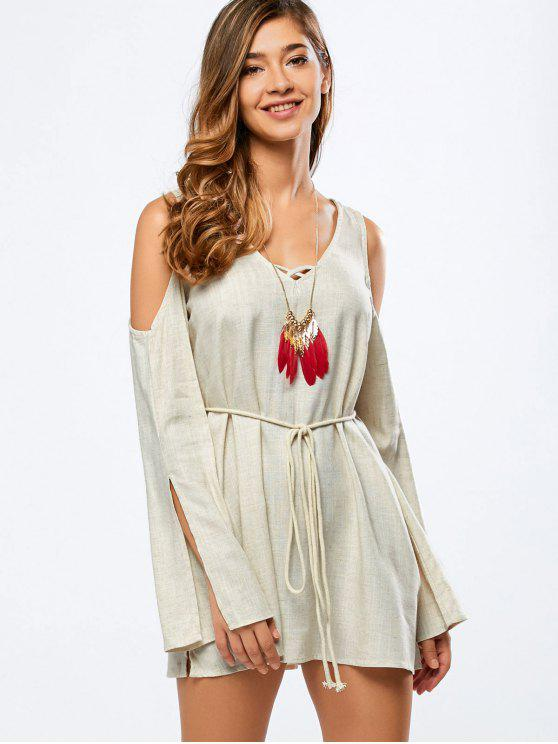 shops Cold Shoulder Split Sleeve Dress - OFF-WHITE 2XL